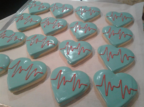 Harlan's Hearts - Chocolate Dipped Decorated Shortbread(Dozen)- Karyn's Cookies