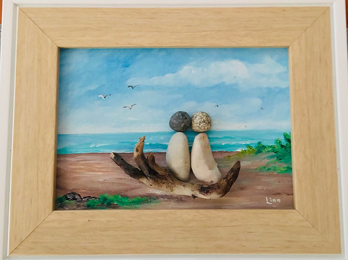 "Beach Scene Original Art (5"" x 7"")- Nature's Best Rocks"