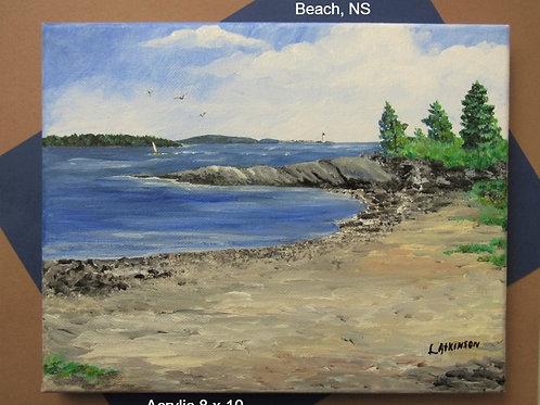 Acrylic Black Rock Beach  unframed - Linn's Creative Jewelry & Art