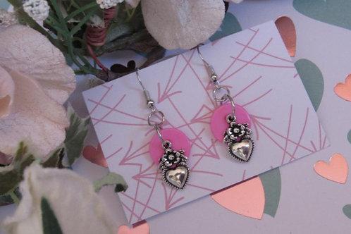 CUTE AS A BUTTON Earrings (Pink Button Heart)  - Linn's Creative Jewelry
