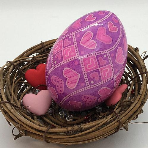 Valentine's Day Pysanka 3 - Heart Swirl (duck egg) - Myrosia Painting and Pysank