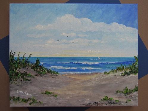 """Acrylic 8 x 10 """"NS Dunes, Martinique"""" unframed - Linn's Creative"""