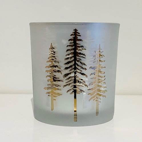 Woodland Pine Etched Mirror Glass Hurricane Vase(3x3 Inches)- Elements By Drala