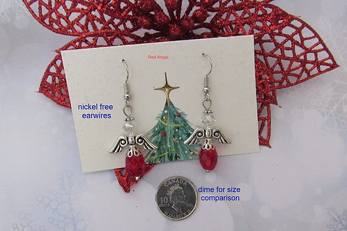 Red Angel Holiday Festive Earrings - Linn's Creative Jewelry