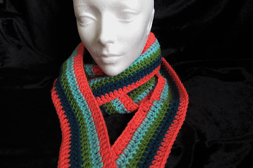 Colorful Long Skinny Scarves (Orange Blue Green) - Linn's Creative Jewel