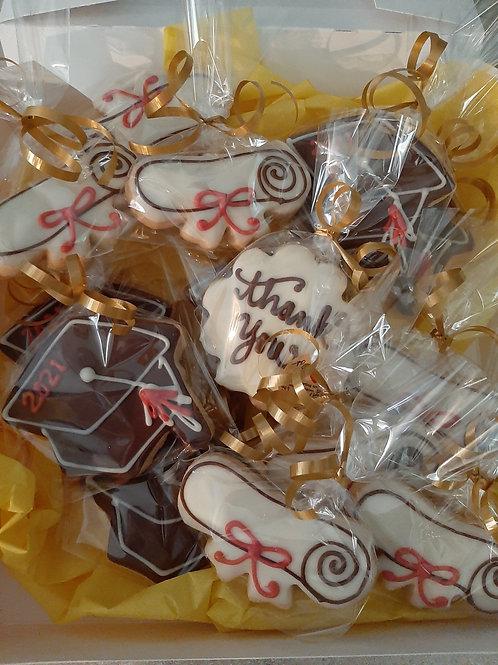 Box of Chocolate dipped shortbreads- Graduation theme - Karyn's Cookies
