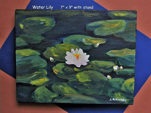 "Acrylic Painting - Water Lily 7"" x 9"" (Unframed) - Linn's Creative"