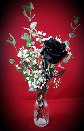 Single Black Rose w/Vase