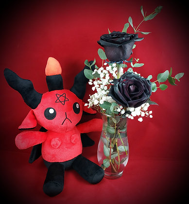 Double Black Rose Vase & Red Baphomet Plush