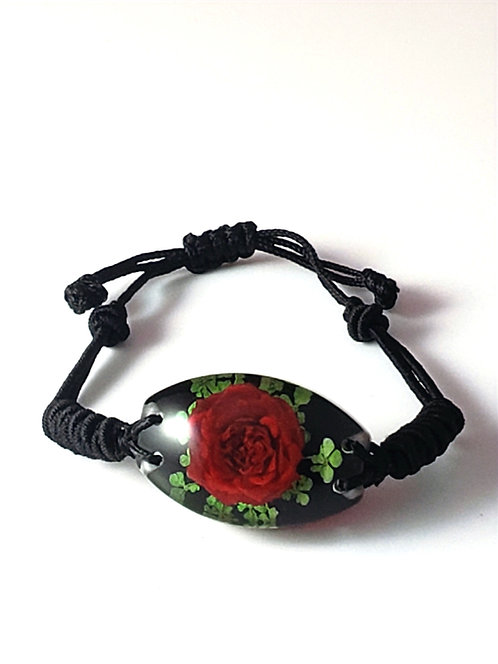 Pulsera ovalada REAL Flower Red / Green Leaves