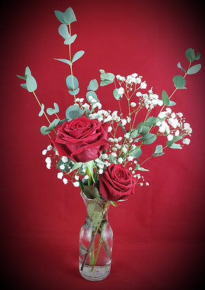 Double Red Rose w/Vase