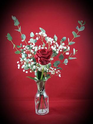 Single Red Rose w/Vase