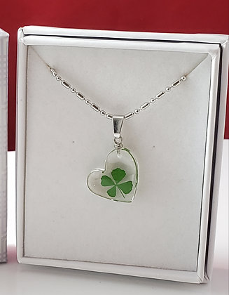 Real 4 Leaf Clover - Heart Necklace