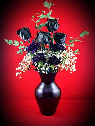 Black Roses & Deep Purple Carnations w/Vase