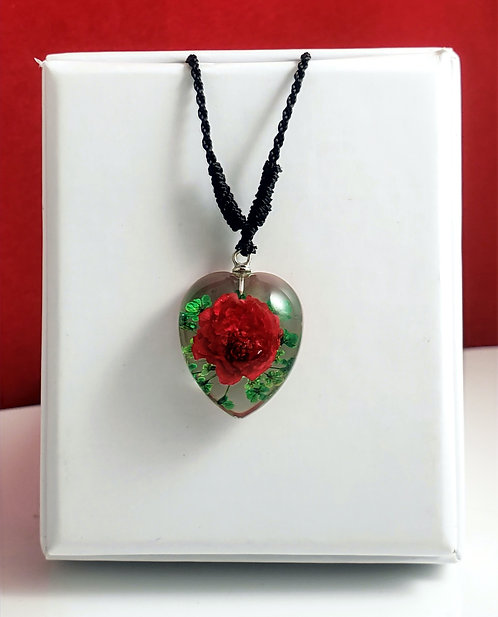 Red Rose /Green Leaves - Clear Heart