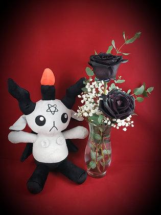 Double Black Rose Vase & Gray Baphomet Plush