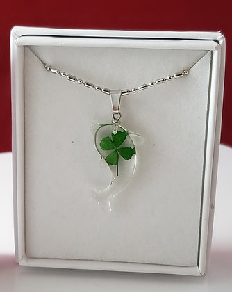 Real 4 Leaf Clover - Dolphin Necklace
