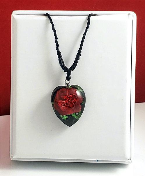 Red Rose /Green Leaves - Black Heart