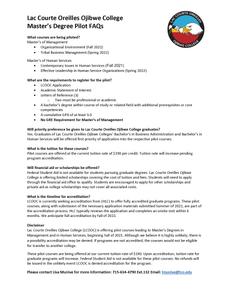 Lac Courte Oreilles Ojibwe College Announces Pilot Master's Degree Programs