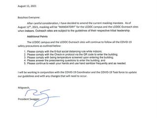 Covid-19 Mask Mandate for Lac Courte Oreilles Ojibwe College