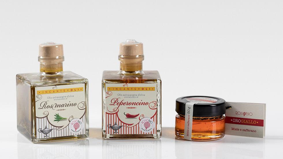 Olio rosmarino + olio peperoncino + miele zafferano