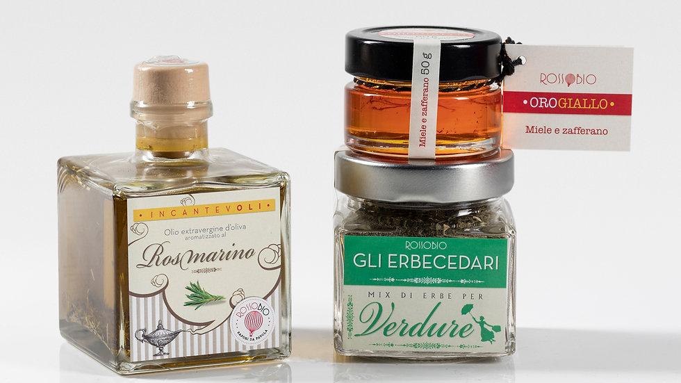 Olio rosmarino + Erbecedario verdure + miele zafferano