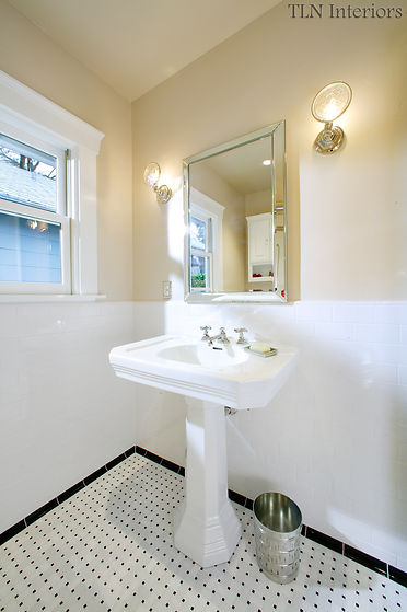 black and white historic bathroom