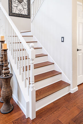stairs painted white hard wood