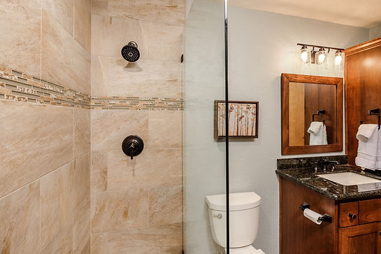 bathroom wood shower granite tile