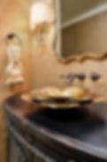 gold powder room flower sink
