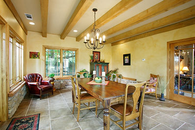 room addition exposed beams rustic
