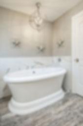 bathroom grey gray soaker tub