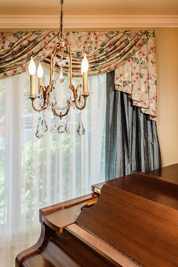 piano drapes chandelier curtains