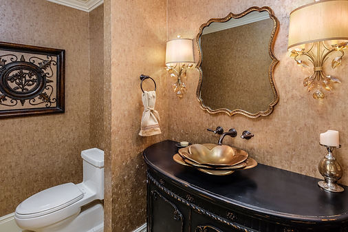 powder room gold flower sink