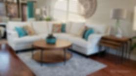 Great room aqua orange
