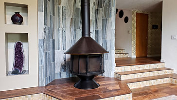 Contemporary tile fireplace surround