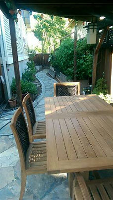 outdoor eating back patio flagstone
