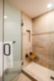 bathroom shower teak seat tile blue
