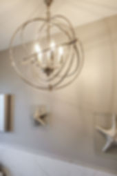 bathroom grey gray chandelier