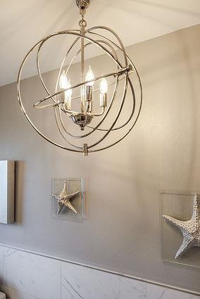 bathroom grey gray chandelier