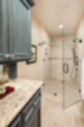 bathroom master teal shower tile
