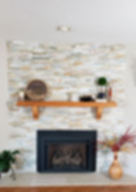 fireplace stack stone wood mantle