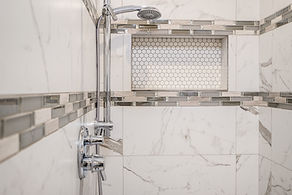 curbless shower grey tile