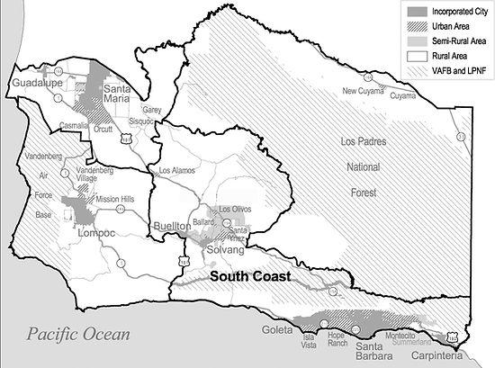 South Coast Area Map of Santa Barbara County