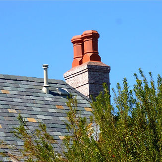 Red, Octagon with Square Base chimney pots on rooftop chimney