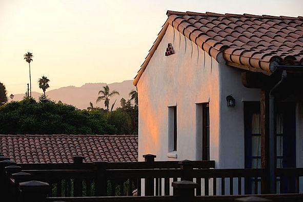 Part of the Santa Barbara Mission at sunset