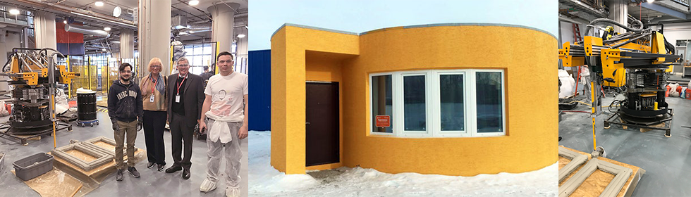 Collage of photos with Apis Cor 3D house printing construction and finished house