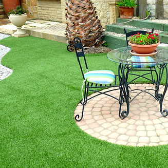Artificial turf with pavers, furniture