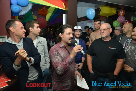 Celso Dulay tells the Blue Angel vodka story to packed house.