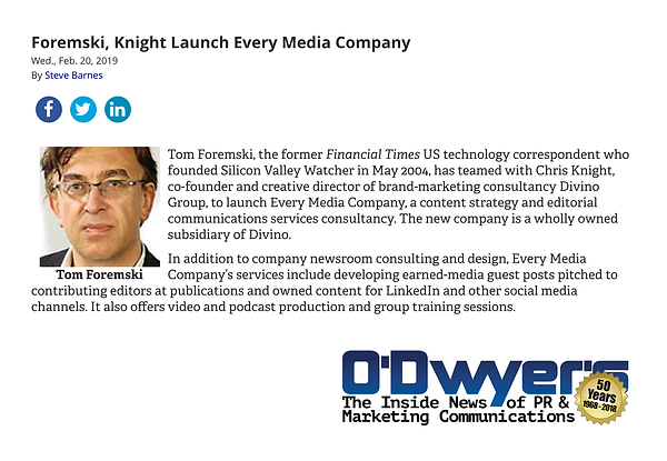 O'Dwyers story on EMC launch- About Page